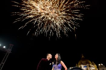 Couple Shot with Fireworks