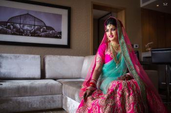 Fuchsia Pink and Mint Bride Candid Portrait