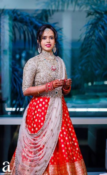 Red and silver sangeet lehenga