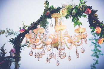 Crystal Chandelier on Floral Door Decor