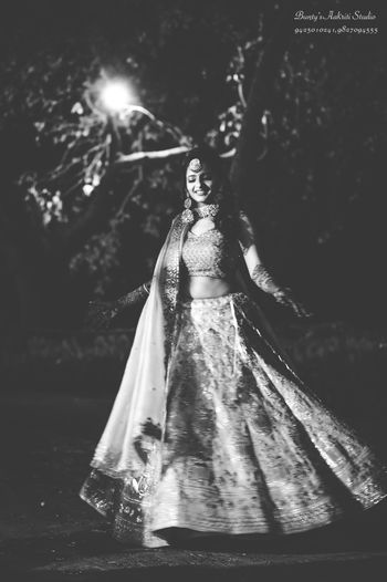 Black and white mehendi bridal portrait
