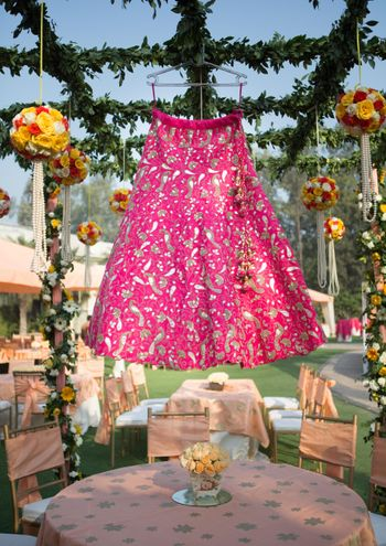 Hot Pink Bridal Lehenga on a Hanger Shot
