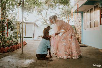 bride with her pet