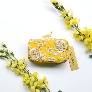 Yellow Wedding Accessories Photo Box clutch as mehendi giveaways