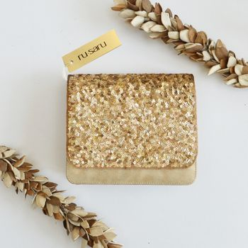 Photo of Glitter square flap clutch