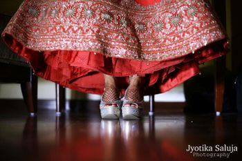 Silver Bridal Shoes and Red Lehenga Border