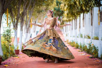 A bride twirls in her mehndi outfit