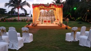Fairy Lights, Curtain Drapes and Floral Mandap Decor