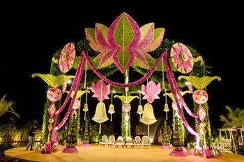 Green and Pink Lotus Inspired Mandap Decor