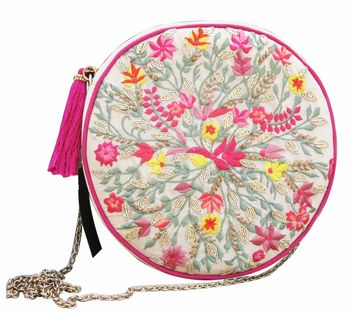 Circular pouches with embroidery