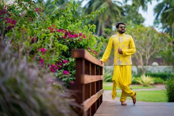 Unique groomwear option with draped kurta and jacket
