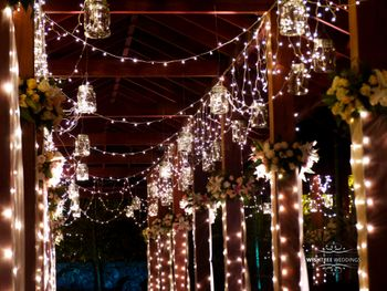 Fairy Lights Entrance with Floral Decor