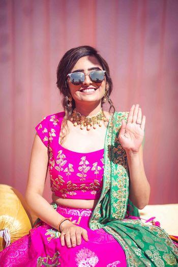 Pink and green gota patti work lehenga for mehendi