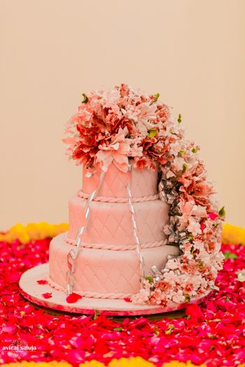3 Tier Pastel Wedding Cake with Floral Decor