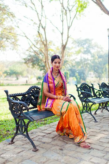 Orange, Green and Purple Kasta Saree