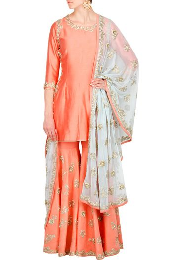 Peach Silk Sharara with White Dupatta