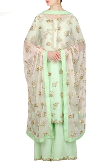 Friend of the Bride Outfit-Mint and White Anarkali