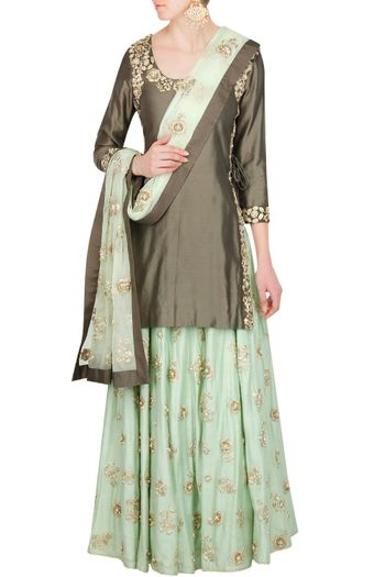 Photo of Brown and Mint Sharara with Gold Motifs