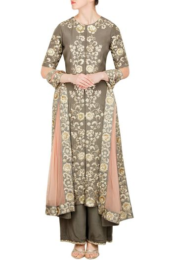 Dull Brown Suit with Floral Embroidery