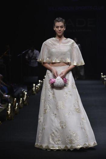 White cape lehenga  for engagememt