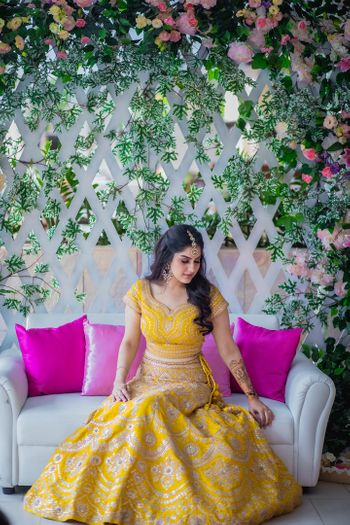 Mustard yellow lehenga for mehendi function