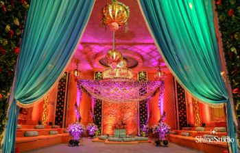 Teal and orange mandap setup
