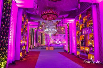 Purple entrance way decor for wedding