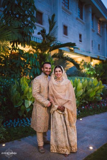 Couple Portrait Wearing Gold Outfits