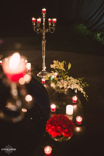 Gold Candelabras with Red Roses Decor