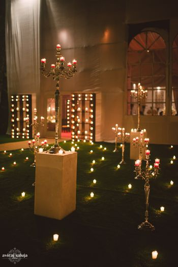 Dim Light Outdoor Decor with Candelabras and Candles
