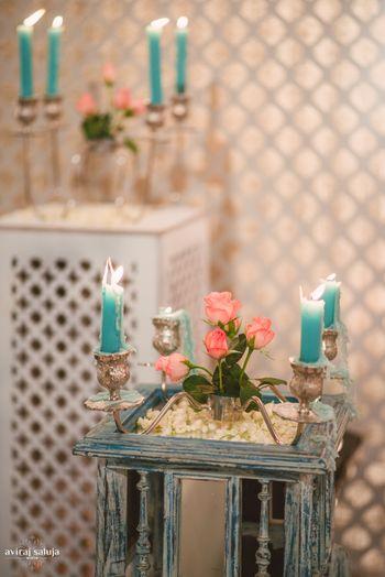 Blue and pink cocktail setup glamorous