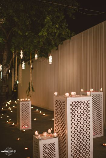Night Outdoor Decor with Candles and Fairy Lights