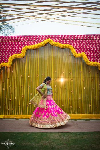 Bridal portrait with mehendi decor