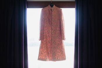 Peach Sherwani with Zari on a Hanger