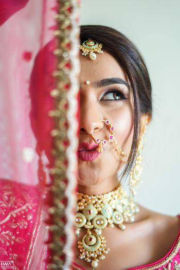 Quirky bride half and half shot