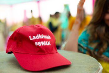 Wedding hashtag on personalised cap