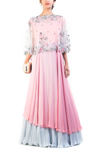 Pastel Pink and Pastel Blue Gown with Transparent Cape