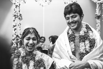 A happy and a bright couple monochrome shot on their wedding.