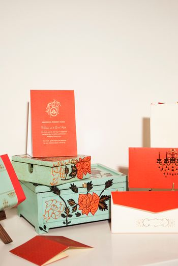 Pastel Green and Coral Red Invitation Boxes