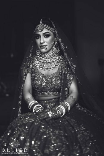 Black and white bridal portrait on wedding day