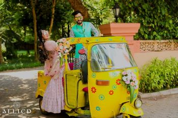 Bride and groom entry in decked up auto