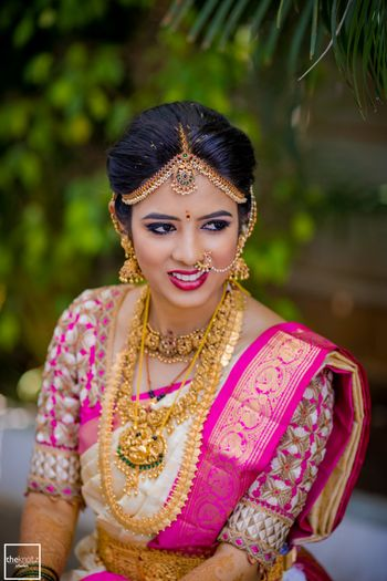 Bridal temple jewellery with gold work