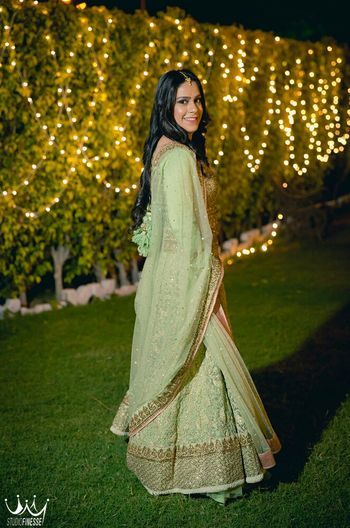 Mint green threadwork lehenga