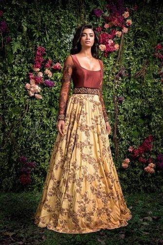 Mustard and bronxze anarkali gown by Shyamal and Bhumik
