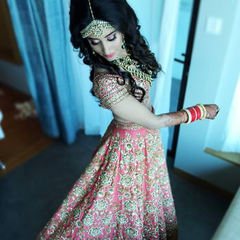Dull Pink Lehenga with Heavy Gold Embroidery