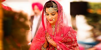Coral Pink Bride with Gold Jhoomer and Maangtikka