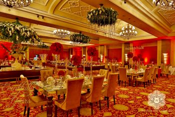 Red and Gold Theme Decor with Floral Chandeliers