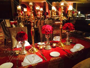 Red and Gold Themed Decor with Roses