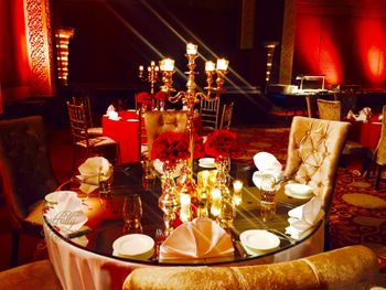 Gold and Red Themed Table Decor