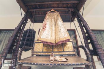 Gold Sequins Lehenga on a Hanger